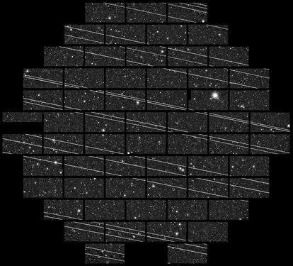 Una veintena de satélites Starlink fotografiados en noviembre de 2019 en el Observatorio Interamericano Cerro Tololo (CTIO) por los astrónomos Clara Martínez-Vázquez y Cliff Johnson.
