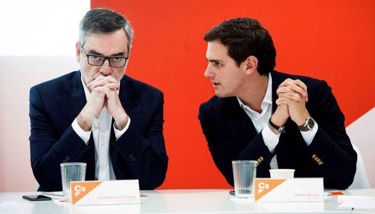 José Manuel Villegas y Albert Rivera, en una reunión de partido durante su etapa en Ciudadanos.