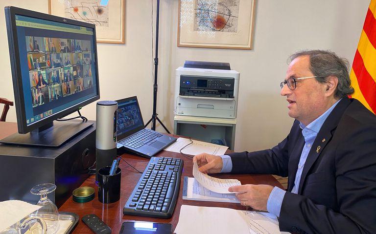 El presidente de la Generalitat, Quim Torra, participando por videoconferencia en la Conferencia de Presidentes.