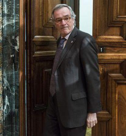 El alcalde Xavier Trias, en un pleno en el Ayuntamiento de Barcelona.