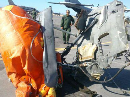 Restos del helicóptero Superpuma accidentado el 22 de octubre de 2015 frente a las costas del Sáhara Occidental
