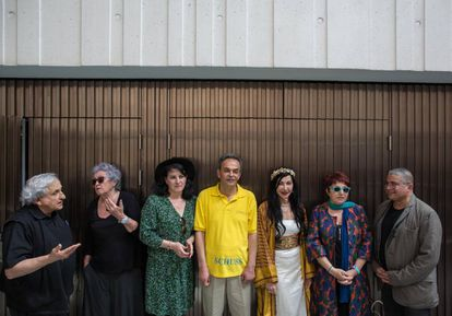 De izquierda a derecha: Abraham B. Yehoshua, Wassyla Tanzali, Aurora Luque, Basem Nabres, Maram al-Masri, Buket Uzuner y Mahi Binebine.