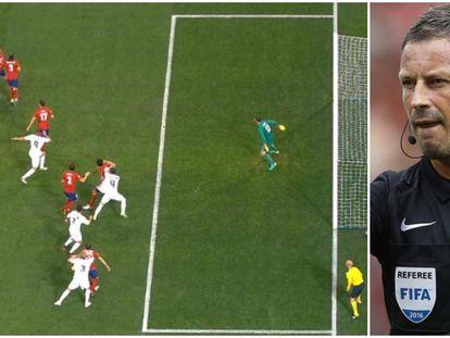 La acción del 1-0 del Madrid y el árbitro Mark Clattenburg.