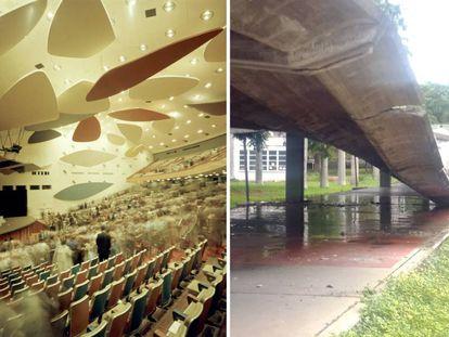 A la izquierda, el aula magna con los móviles de Alexander Calder, diseñados para mejorar la acústica de la sala. A la derecha, uno de los pasillos cubiertos de hormigón armado diseñados por Carlos Raúl Villanueva, en una foto tomada la semana pasada. |