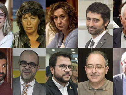 De izquierda a derecha: Artadi, Jordà, Capella, Puigneró, Maragall, El Homrani, Buch, Aragonès, Bargalló y Puig.