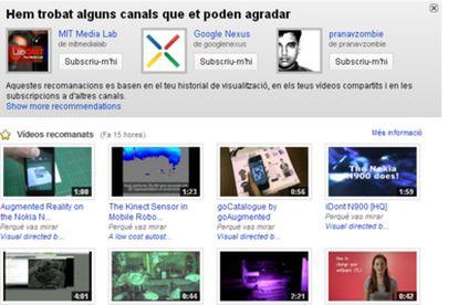 Portada de YouTube en catalán.