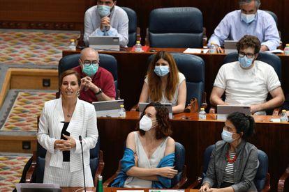 La portavoz de Más Madrid, Mónica García, interviene en el pleno en la Asamblea de Madrid.