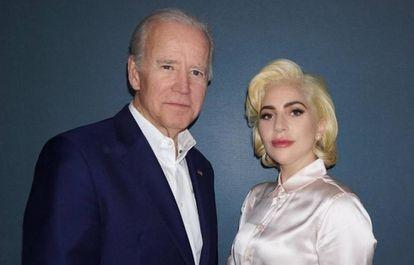 El vicepresidente de EE UU Joe Biden y la cantante Lady Gaga.