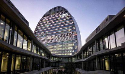 Vista de la sede operativa de BBVA en Madrid.