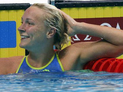 Sarah Sjöström al concluir la final de 50 libre.