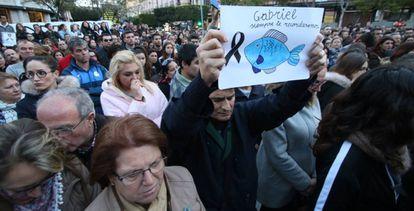 Concentración en Almería tras el asesinato de Gabriel a manos de la pareja de su padre, en marzo de 2018.