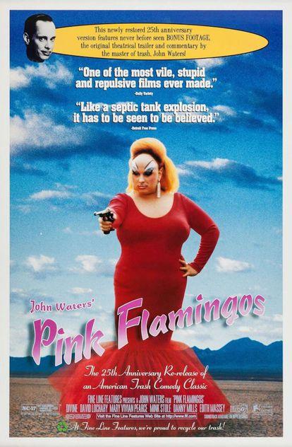 El cartel de 'Pink flamingos', que la crítica recibió (como se presume en la propia promoción del 25 aniversario) como