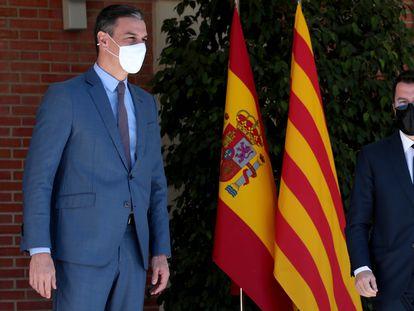 Pedro Sánchez y Pere Aragonès en el Palacio de la Moncloa el pasado mes de junio.