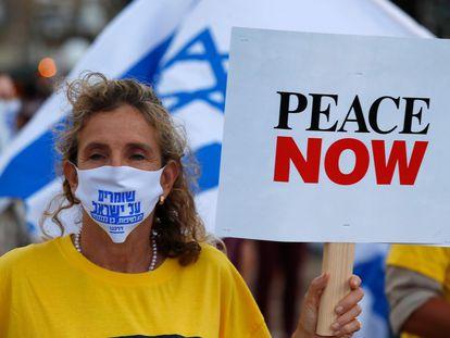 Manifestación pacifista israelíe contra la anexión de Cisjordania, el martes en Tel Aviv.