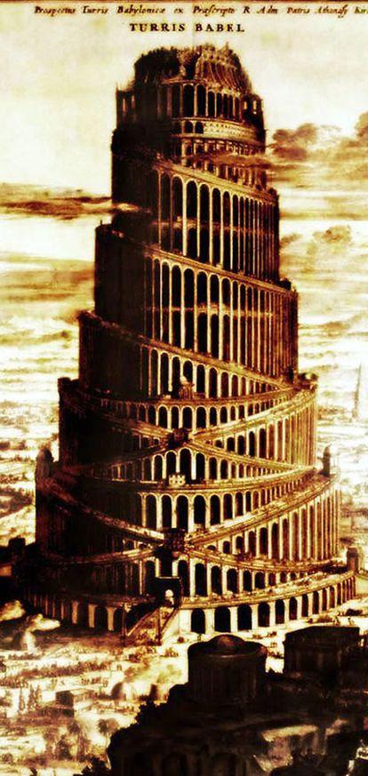 Grabado de la Torre de Babel.