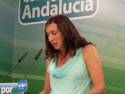 La secretaria general del PP andaluz, Dolores López, este lunes.
