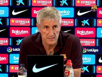 El entrenador del Barcelona, Quique Setién, en la Ciudad Deportiva Joan Gamper.