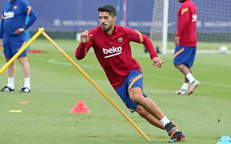 Luis Suárez, en un entrenamiento en la Ciudad Deportiva del Barcelona.