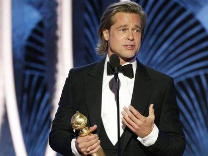 Brad Pitt, ganador del Globo de Oro a mejor actor de reparto, este domingo en Los Ángeles.