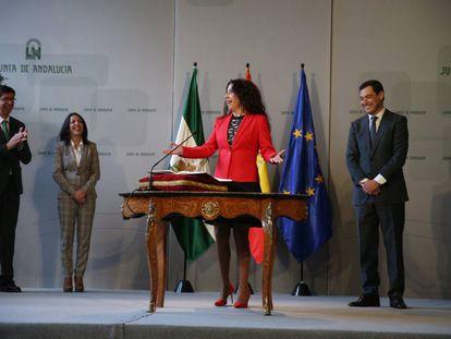Rocío Ruiz, durante su toma de posesión como consejera de Igualdad, Políticas Sociales y Conciliación de la Junta de Andalucía.