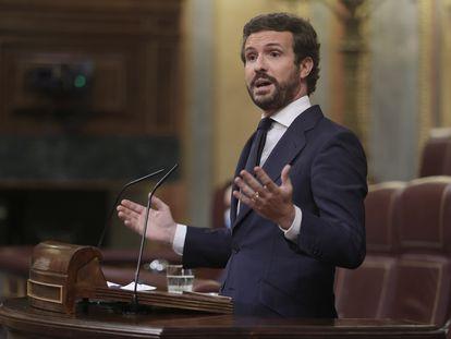 El líder del PP, Pablo Casado, el miércoles pasado durante una intervención en la sesión de control al Gobierno en el Congreso de los Diputados.