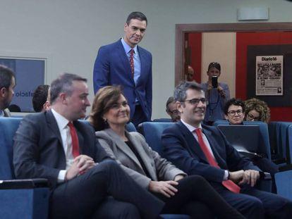 Pedro Sánchez, presidente del Gobierno, en la sala de prensa del Complejo de La Moncloa. ULY MARTIN. En vídeo, perfil de Iván Redondo. EPV