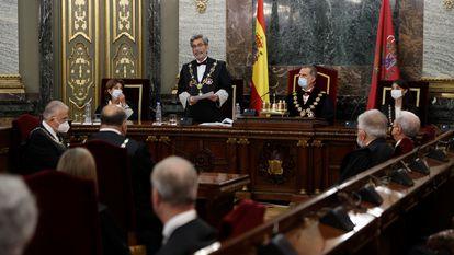 El presidente del Consejo General del Poder Judicial, Carlos Lesmes, interviene en el acto de apertura del año judicial, el pasado 6 de septiembre en el Tribunal Supremo.
