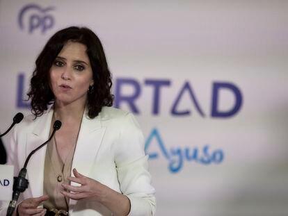 La presidenta de la Comunidad de Madrid y candidata del PP a la reelección, Isabel Díaz Ayuso, en un acto de campaña.