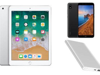 De izquierda a derecha y de arriba a abajo: Apple iPad 32GB 9,7 pulgadas edición 2018 en color plata, Xiaomi Redmi 7A de 32 GB y Xiaomi Mi Powerbank 2.