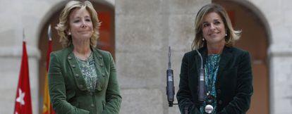 Esperanza Aguirre y Ana Botella, en la sede de la Comunidad de Madrid.
