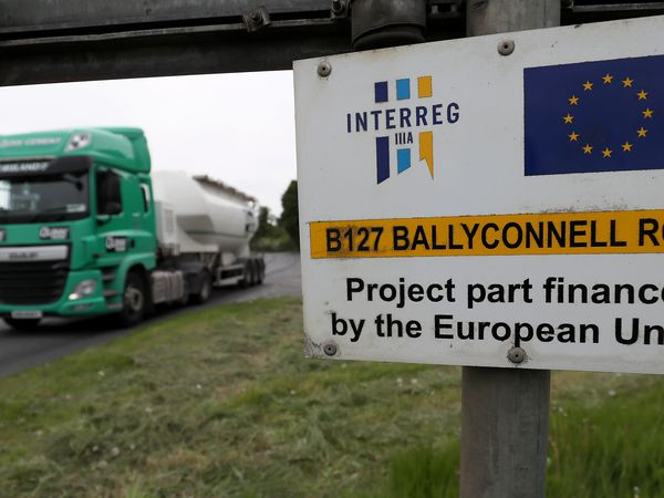 A road sign on the border between the Republic of Ireland and Northern Ireland, the location of the Quinn Cement manufacturing plant in Co. Cavan, the border cuts through the middle of the companies operations. (Photo by Brian Lawless/PA Images via Getty Images)