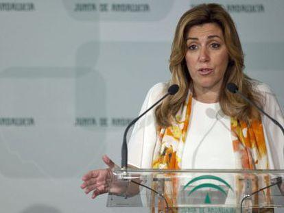 La presidenta andaluza en funciones, Susana Díaz, el pasado día 2 en la sede del Gobierno autonómico.
