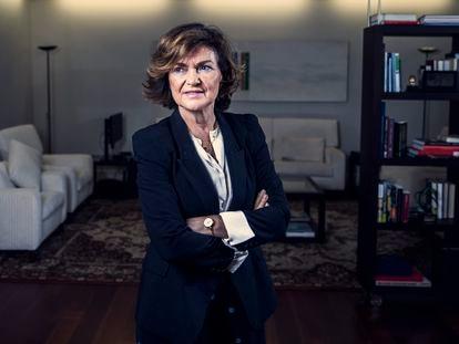 Carmen Calvo, en su despacho de La Moncloa en 2019.