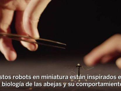 El robot diminuto es capaz de volar y nadar.