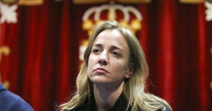 Tania Sánchez, este lunes en un acto con simpatizantes de Leganés.