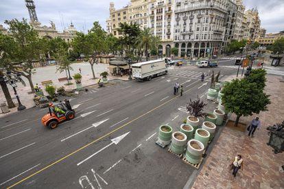 La plaza más céntrica de Valencia en plena remodelación para convertirla en peatonal.