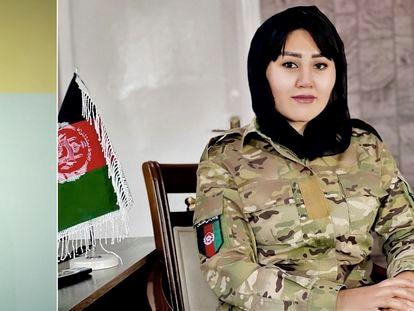 La policía Razia Hakimi retratada estos días en Islamabad (Pakistán) y, a la derecha, en Kabul en una foto cedida de su archivo.