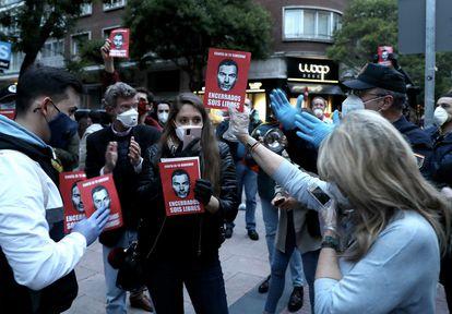 Protesta contra el Gobierno en el barrio de Salamanca, en Madrid, el jueves de la semana pasada.
