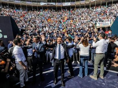 El presidente del PP, Pablo Casado, en el acto de clausura de la Convención Nacional del PP, en la Plaza de Toros de Valencia, este sábado en Valencia.
