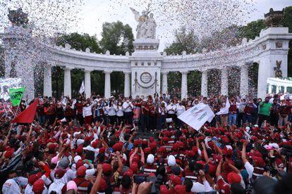 El presidente nacional del Movimiento de Regeneración Nacional, Mario Delgado, participa en un mitin con sus partidarios en el Hemiciclo a Juárez de Ciudad de México en junio de 2021.