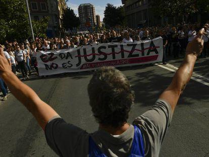 Imagen de archivo de una manifestación en apoyo a los condenados de Alsasua celebrada en Pamplona.