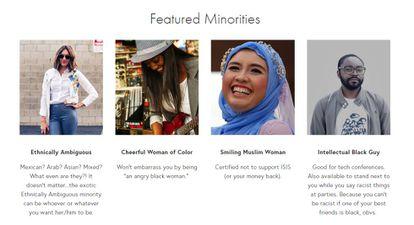 Captura de pantalla de la web Rent-A-Minority en la que figuran algunos de los perfiles que, supuestamente, se pueden contratar. En el apartado de FAQs se indica que todo el contenido del site es satírico.