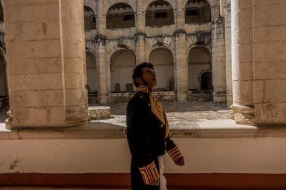 Un actor caracterizado como Vicente Guerrero durante un evento por el 190 aniversario luctuoso del insurgente, el 14 de febrero de este año.