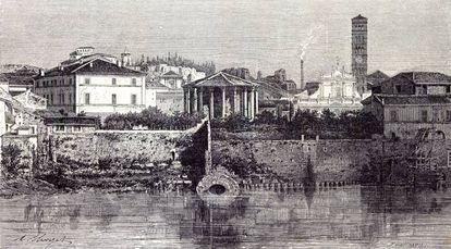 Roma, Italia 1875, vista de la cloaca máxima.