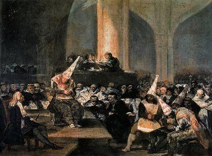 <i>Auto de fe de la Inquisición,</i><b> óleo de Francisco de Goya de la Real Academia de Bellas Artes.</b>