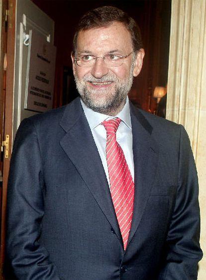 Mariano Rajoy, esta mañana antes de un desayuno informativo