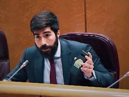 El diputado Manuel Mariscal exhibe el meme de Pepe el pasado 2 de junio en el Congreso.