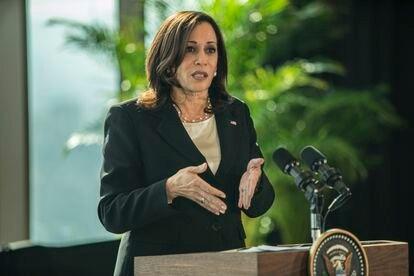 La vicepresidenta de Estados Unidos, Kamala Harris, el 8 de junio en Ciudad de México.