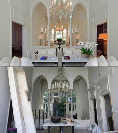 Interior del palacete de principios del siglo XX del diseñador de moda Elie Saab, cuya fachada se ha caído con la explosión. El palacio, cuidadosamente restaurado antes de la detonación, era uno de los pocos ejemplos de la arquitectura tradicional libanesa que quedaban intactos tras la destrucción de la guerra.  