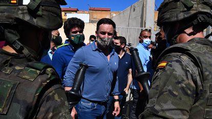 El líder de Vox, Santiago Abascal, durante su visita a Ceuta el pasado 19 de mayo.